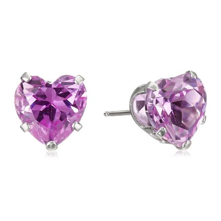 Pink Sapphire Heart Stud Earrings