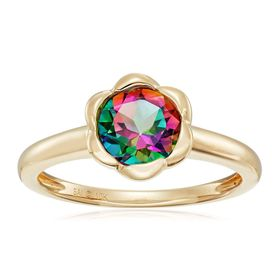 Mystic Topaz Flower Ring