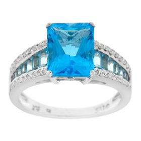 Swiss Blue Topaz & 1/4 ct Diamond Ring