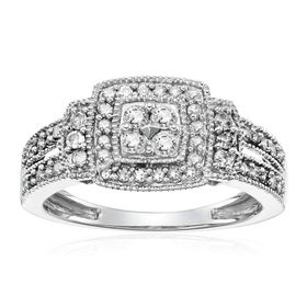 1/2 ct Diamond Square Halo Composite Ring