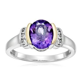 Two-Tone Amethyst & White Topaz Ring