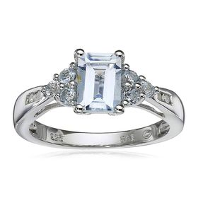 Aquamarine & Blue Topaz Ring with Diamonds