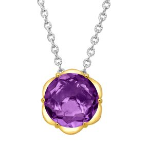 Amethyst Scalloped Solitaire Pendant