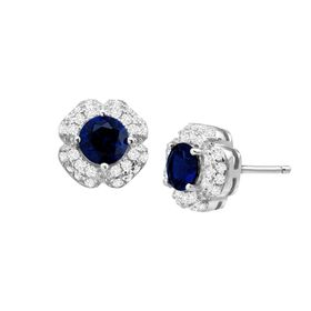 Blue & White Sapphire Floral Stud Earrings