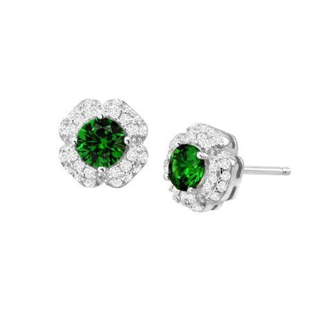 Emerald & White Sapphire Floral Stud Earrings