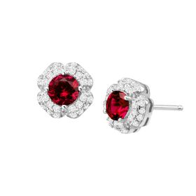 Ruby & White Sapphire Floral Stud Earrings