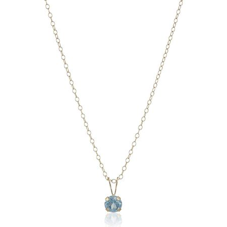 Girl's 5 mm Aquamarine Birthstone Pendant