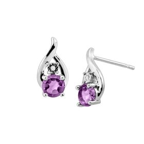 Amethyst Droplet Stud Earrings with Diamonds