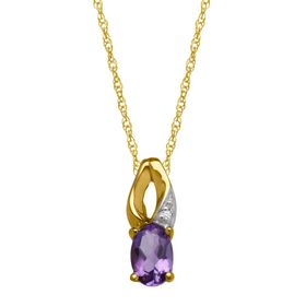 3/8 ct Amethyst Pendant with Diamond