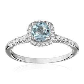 Aquamarine & 1/5 ct Diamond Halo Ring
