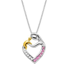 1/5 ct Pink Sapphire Mother & Child Pendant with Diamonds