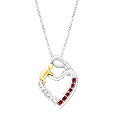 1/5 ct Ruby Mother & Child Pendant with Diamonds