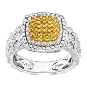 1/4 ct Yellow Diamond Braided Cushion Ring
