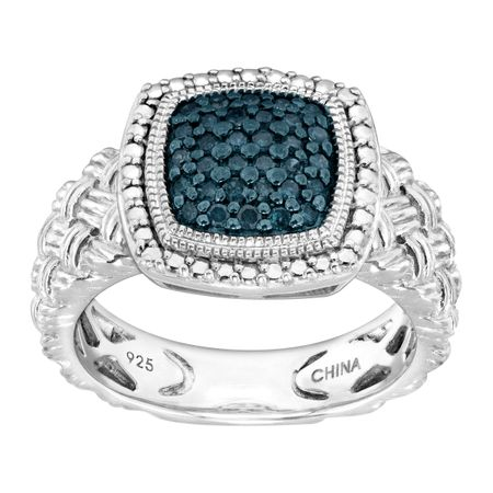 1/4 ct Blue Diamond Braided Cushion Ring