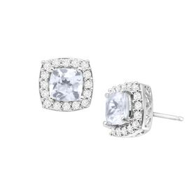 2 1/4 ct Aquamarine & White Sapphire Stud Earrings