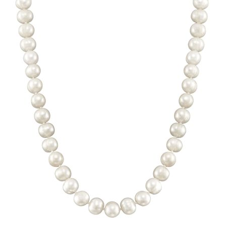 7-8 mm White Potato Pearl Strand Necklace, 18