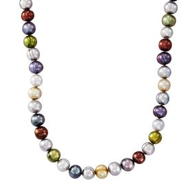 7-8 mm Dark Multicolor Potato Pearl Strand Necklace, 18""