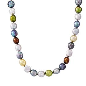 8-9 mm Dark Multicolor Rice Pearl Strand Necklace, 18""