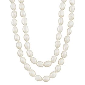 8-9 mm White Rice Pearl Strand Necklace, 36""