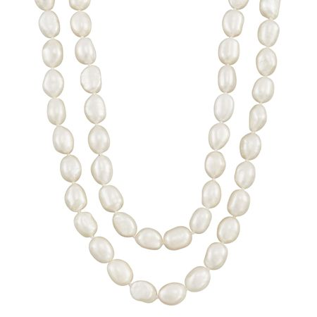 8-9 mm White Rice Pearl Strand Necklace, 36