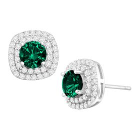 1 1/2 ct Emerald & Cubic Zirconia Halo Stud Earrings