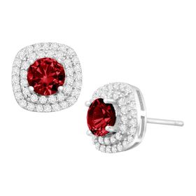 1 3/4 ct Ruby & Cubic Zirconia Halo Stud Earrings
