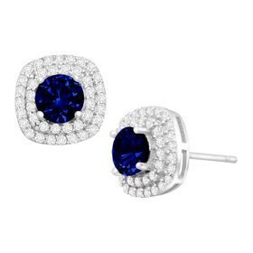 1 3/4 ct Sapphire & Cubic Zirconia Halo Stud Earrings