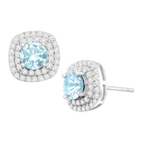 1 5/8 ct Sky Blue Topaz & Cubic Zirconia Halo Stud Earrings