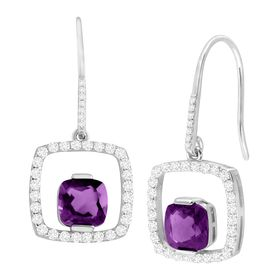 Amethyst & White Sapphire Open Square Drop Earrings