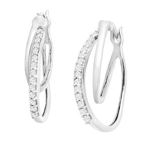 1/4 ct Diamond Double Hoop Earrings, White