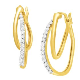 1/4 ct Diamond Double Hoop Earrings, Yellow