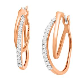 1/4 ct Diamond Double Hoop Earrings, Pink