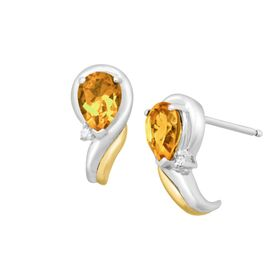 Citrine Crescent Earrings with Diamonds