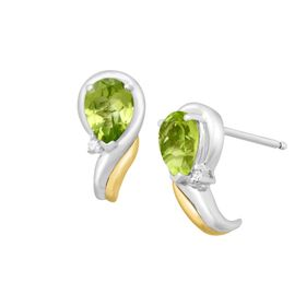 Peridot Crescent Earrings with Diamonds