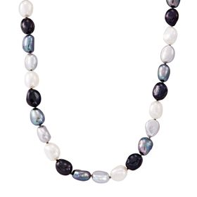 8-9 mm Tuxedo Rice Pearl Strand Necklace, 18""