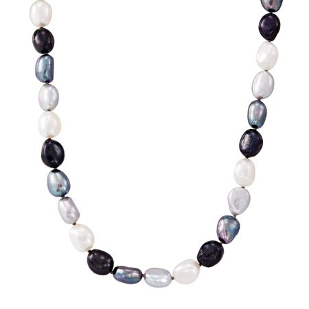 8-9 mm Tuxedo Rice Pearl Strand Necklace, 18