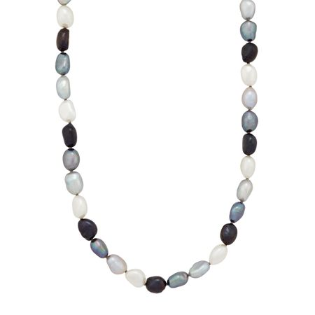 8-9 mm Tuxedo Rice Pearl Strand Necklace, 36