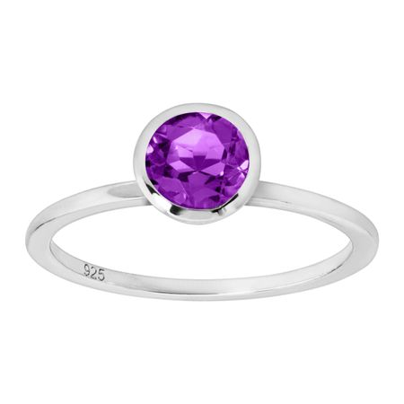 3/4 ct Amethyst Solitaire Ring, Silver