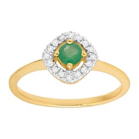 1/3 ct Emerald Ring with Diamonds