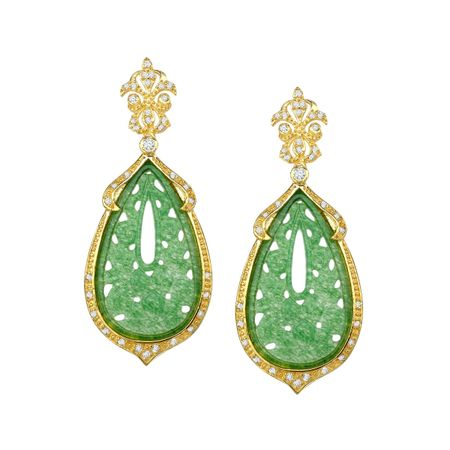Green Quartz Floral Drop Earrings