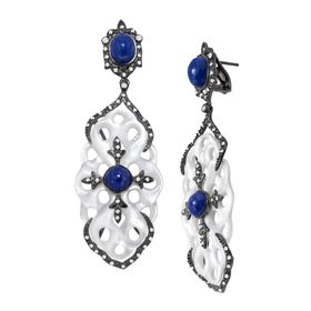Lapis & White Topaz Carved Knot Drop Earrings