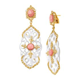 Rhodochrosite & White Topaz Carved Knot Drop Earrings