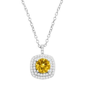 Citrine & Cubic Zirconia Cushion Halo Pendant