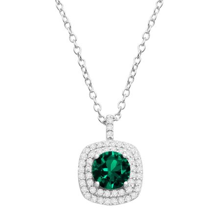 Emerald & Cubic Zirconia Cushion Halo Pendant