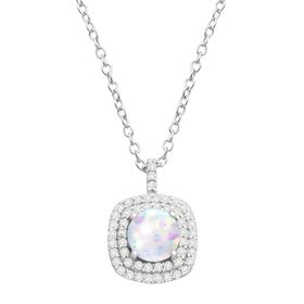 Opal & Cubic Zirconia Cushion Halo Pendant