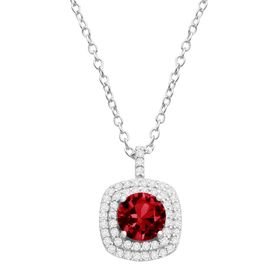 Ruby & Cubic Zirconia Cushion Halo Pendant