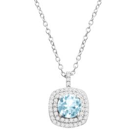 Sky Blue Topaz & Cubic Zirconia Cushion Halo Pendant