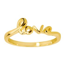 'Love' Script Ring, Yellow