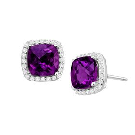 Amethyst & White Sapphire Halo Stud Earrings