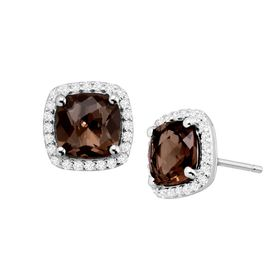 Smokey Quartz & White Sapphire Halo Stud Earrings